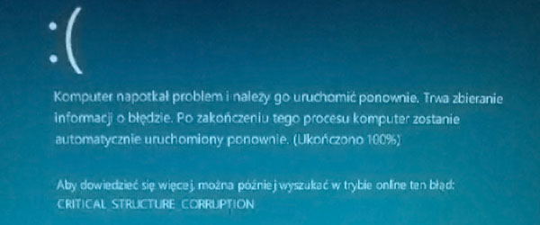Niebieski ekran. Naprawa komputerów stacjonarnych i laptopów - Gdańsk, Gdynia, Sopot, Tczew, Starogard Gd., Malbork, Pruszcz Gdański